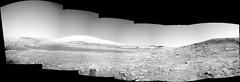 Mount Sharp, variant (sjrankin) Tags: 4december2019 edited nasa mars msl curiosity galecrater grayscale panorama mountains sky haze mountsharp navcam
