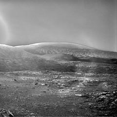 Early Morning Mount Sharp, variant (sjrankin) Tags: 4december2019 edited nasa mars msl curiosity galecrater grayscale mountains sky haze mountsharp
