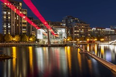 Emirates Air Line in Royal Victoria Dock [Explored 4 Dec 2019] (yoosangchoo) Tags: london uk dock victoria royal airline emirates cablecar night reflections trails light hour blue