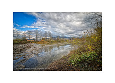 On the Bank of the River (My digital Gallery) Tags: dornbirnerache dornbirn austria eu river vorarlberg europe bank ufer november sky blue cloudy himmel wolkig blau laub bunt bäume trees steine stones wasser water fall autumn herbst