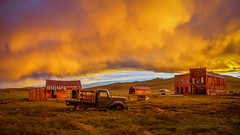Bodie Sunset Pano (Jeff Sullivan (www.JeffSullivanPhotography.com)) Tags: state historic park sunset weather bodiestatehistoricpark abandoned american wild west mining ghost town monocounty bridgeport california usa landscape nature night photography travel canon eos 5dmarkiv ef2470mmf28 lens photo copyright 2019 jeffsullivan june allrightsreserved clouds bodie green 1940 ford