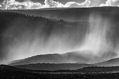 A July Rain Shower (rigpa8) Tags: bw bwlandscape rainshower july summer sunlight clouds