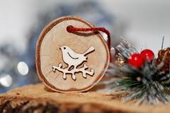 December (kkirby864) Tags: december ornament christmas holiday decoration natural wood bird birdfetish holly