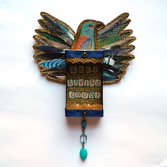 Loud Bird Wall Hanging. (JuliaPeculiart) Tags: bird wall art decor loud hanging matchbox upcycled wings juliapeculiar boho maximalist decoration collage