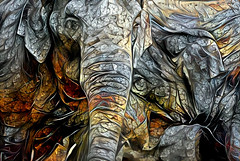 Elephants (Palmsgb) Tags: elephant deepdreamgenerator photoshop gimp
