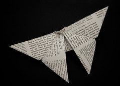 338/365 Origami (Helen Orozco) Tags: day338365 365the2019edition origami butterfly paperwork newspaper