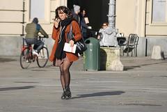 dimmi che ci sei (archgionni) Tags: girl ragazza strada street gente people cellulare mobile faccia face camminare running luce light ombre shadows