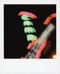 CCAAMMPP (tobysx70) Tags: polaroid originals color sx70 instant film sx70sonar sonar ccaammpp campus theatre west hickory street denton texas tx neon sign lit illuminated glow buzzing lights night nocturnal marquee pink green hand held motion blur polacon4 polacon2019 polacon 092919 toby hancock photography
