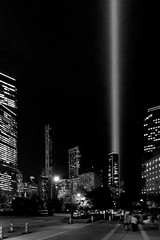 I remember the innocence (Super G) Tags: nikon333c night nightshot buildings bw blackandwhite newyorkcity tributeinlight 911 memorial 2019