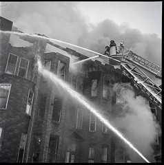 """1970-12-09-BK-44-3756 (5) (Official New York City Fire Department (FDNY)) Tags: fdny fire firefighting 1970s vintage """"throwback thursday"""" tbt """"fire engine"""" truck"""" water nyc ladder truck """"new york city"""" building suppression"""" firefighter rescue smoke flames brooklyn"""