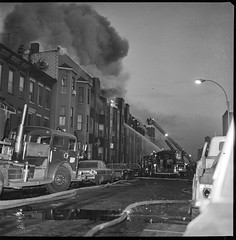 """1970-12-09-BK-44-3756 (1) (Official New York City Fire Department (FDNY)) Tags: fdny fire firefighting 1970s vintage """"throwback thursday"""" tbt """"fire engine"""" truck"""" water nyc ladder truck """"new york city"""" building suppression"""" firefighter rescue smoke flames brooklyn"""