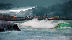 Storm on the corsair city (Gilles B. Photographe) Tags: flow storm city tourist bretagne stmalo fortification sky fort landscape medieval old landmark town wet atlantic french stormy house wavy marine ancient france color nature water liquid aqua background flowing sea malo ocean st wave wall fortified stone castle batiment art white european stream surf outdoor brittany view saint mer beach famous blue tourism fortress beautiful travel tower architecture paysage shore building saintmalo coast panorama europe