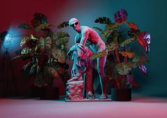Hermes Statue (SplitShire) Tags: fashion tree people plant flower moon colors art purple adult beauty affectionate horizontal fashionmodel colorimage humanface illustration fantasy statue dancer lightnaturalphenomenon midadult narrative coloring loveemotion etheral beautifulpeople fashionindustry lifeevents hermes greek