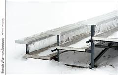 Bench Warmers Needed (jwvraets) Tags: grassie icestorm freezingrain bleacher bench baseballdiamond ice icicles frozen monochromatic opensource rawtherapee gimp nikon d800 afnikkor70210mm14056