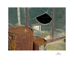 Broken & Rusty (jesse1dog) Tags: windowwednesdays rusty cans window broken shattered cracked lumixlx3 fathewvalley wales metalframe hole tincan