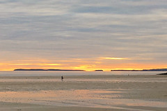 Lone fisherman - Explore 5/12/19 (MJ Harbey) Tags: sky clouds sunset pendinesands pendine camarthenbay wales sand rocks beach sea iphone