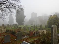 St Mary's Priory Church, Church Street, Usk 4 December 2019 (Cold War Warrior) Tags: churchyard church usk mist graveyard