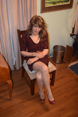 Sitting Pretty (ericaklein8) Tags: legs stocking pantyhose nylons shoes heels sitting cute red dresses miniskirt td ts tv trans transgender tgirl tranny skirts feminine glamour exquiste classy sensual elegant attractive seductive