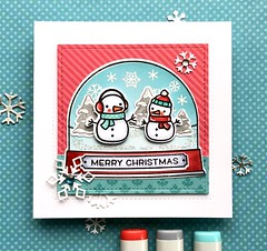 Merry Christmas (The Queen's Scene) Tags: card cardmaking colorthrowdown stamping papercrafting lawnfawn christmas snowman handmadecard snowglobe