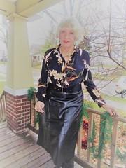 Quick--We're Losing The Light (Laurette Victoria) Tags: porch blonde laurette woman skirt leather blouse