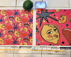 """""""Pop Art Angsty Lemons"""" fabric design. Large and small scale fabric test swatches. Original design hand drawn by me digitally. This was created for a Pop Art Citrus fabric design contest. (sassyone2013) Tags: popart digitalart illustration drawing lemon lemons stars kitschy kitsch fabric textiles hearts colorful spoonflower amygale fabrics surfacepatterndesign patterndesigner sewing quilting wallpaper fabriccrafts patterndesign surfacepatterns fruit food graphics pink handdrawn patterns quirky textiledesign"""