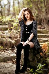 Alyssa (Ray Akey - Photographer) Tags: woman pretty location boots black forest rocks garden brunette female lady model photoshoot