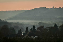 The Mist Gathers (Deepgreen2009) Tags: dorking surrey mist winter cold sunset hills ranmore weather valley