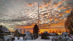 December sunset (JaakkoJ) Tags: sweden sverige ruotsi 2019 outside utomhus ulkona gävleborg hälsingland ljusdal december joulukuu clouds moln pilvet sky himmel taivas flagpole flaggstång lipputanko sunset solnedgång auringonlasku snow snö lumi christmas jul joulu