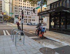 New bicycle parking on 7th Ave pbl (Seattle Department of Transportation) Tags: seattle sdot transportation donghochang new bicycle parking 7th ave pbl racks protected bike lane biking biker hotelmax signal child seat stewart downtown