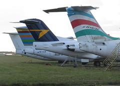 Tails of various aircraft on the North Side (Ibirdball) Tags: p4giu vhnuv sedjn eirjn norwich egsh nwi fokker embraer britishaerospace bae avro e170 rj85 146200 f70 cityjet braathensregionalairlines allianceairlines lamia