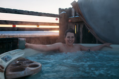 In the tub at sunset (M///S///H) Tags: rx1 cybershot hottub kelly mirrorless newmexicotrue pointandshoot rx1rii smile sony steam sunset