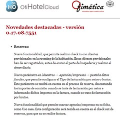 novedades ofihotelcloud (ofisoftware) Tags: software ofimatica ofihotelcloud cloud pms hoteles hotel