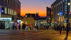 Church Street (Croydon Clicker) Tags: street tramlines lights people sunset church shops hill sky croydon london surrey nikon nikkor