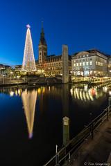 Rathausmarkt (spityHH) Tags: hamburg rathaus dämmung blauestunde spiegelung alster weihnachtsmarkt wasser rathausmarkt sony