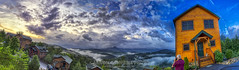 Views From Heaven (Early Morning), 2019.08.23 (Aaron Glenn Campbell) Tags: mist fog gatlinburg nps smokymountains gsmnp seviercounty tennessee 21xp ±3ev hdr viewsfromheaven cabin outdoors architecture overlook scenic vista panorama photomerge stitch macphun skylum aurorahdr nikcollection colorefexpro viveza sony a6000 ilce6000 mirrorless emount rokinon 12mmf2ncscs wideangle primelens manualfocus