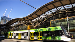 Trams & Trains (Greenstone Girl) Tags: southerncrossstation trams green city melbournecbd blue sky cranes