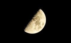 first quarter moon (Hanna Schreuder) Tags: light moonlight moon dark luna lune halfmoon