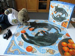 Black cats is lucky... (pefkosmad) Tags: jigsaw puzzle 1000pieces secondhand complete otterhouse cats romulusandremus mosaic oaranges square hobby leisure pastime art painting chrissiesnelling tedricstudmuffin teddy ted bear animal toy cute cuddly plush fluffy soft stuffed