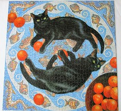 Romulus and Remus (pefkosmad) Tags: jigsaw puzzle 1000pieces secondhand complete otterhouse cats romulusandremus mosaic oranges square hobby leisure pastime art painting chrissiesnelling