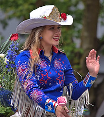 Smile, Wave & Ride (Scott 97006) Tags: woman rider hat cowgirl wave smile parade cute beautiful blonde roses