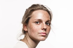 Young Beautiful Freckles Woman Face Portrait With Healthy Skin (contact.anib25) Tags: adult attractive background beautiful beauty care caucasian cheerful closeup complexion concept cosmetic cute dermatology excited eyes face facial fashion female freckle fun girl happy head health healthy high hipster human long medical model nice people portrait pretty problem skin skincare smile striped stripes studio white woman young
