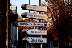 336-029 (mjlockitt) Tags: photojournal lights colors colours autumn belgium city tournai street streetfurniture urban signs
