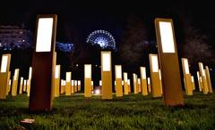 Panneaux lumineux avec grande roue en arrière plan (yanngayon) Tags: design light street city night landscape nikon nuit lumière