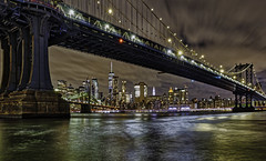 DUMBO (Rick Burgett) Tags: ny new york city cityscape nightexposure longexposure manhattan brooklyn bridge overpass east river hudson water nyc