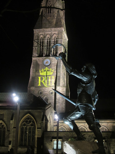 Statue of Richard III Before Leicester Cathedral at Nighttime