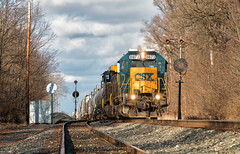 CSX 8873 - Botkins, OH (Wheelnrail) Tags: csx emd sd402 locomotive toledo subdivison railroad rail road rails q508 q351 cloudy sunny winter december fall signal signals bo cpl color position lights