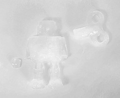 Ice Robot (jolynne_martinez) Tags: kansascity mo unitedstatesofamerica flickrfriday cold robot ice key white whiteonwhite monochrome bw blackandwhite nikkor nikon nikond60