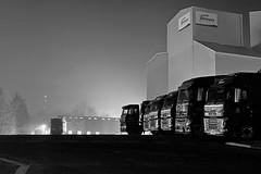 Trucks (heresthething...) Tags: trucks lorries uk night dark bw feedstore afterdark depot volvo mercedes parked loading g9 lumix panasonic rig exeter forfarmers appicoftheweek monochromia
