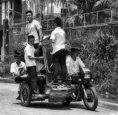 School transport (Beegee49) Tags: street people students motorcycle overcrowded white blackandwhite monochrome sony a6000 bw bacolod city philippines asia
