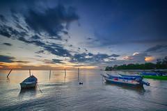 IMG_2602 ~ calm (achem74) Tags: sunset sundown seascape shoreline coast travel place trip cloud sea sky boat portdickson negerisembilan malaysia canon eos700d canoneos700d sigmalens 10mm20mm wideangle calm